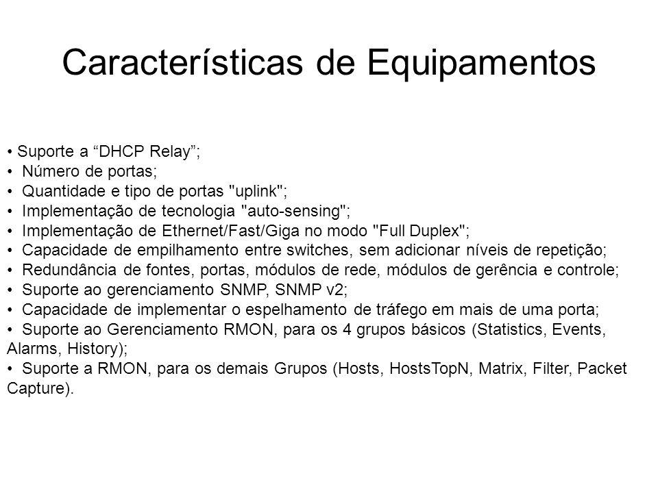 Características de Equipamentos Suporte a DHCP Relay; Número de portas; Quantidade e tipo de portas