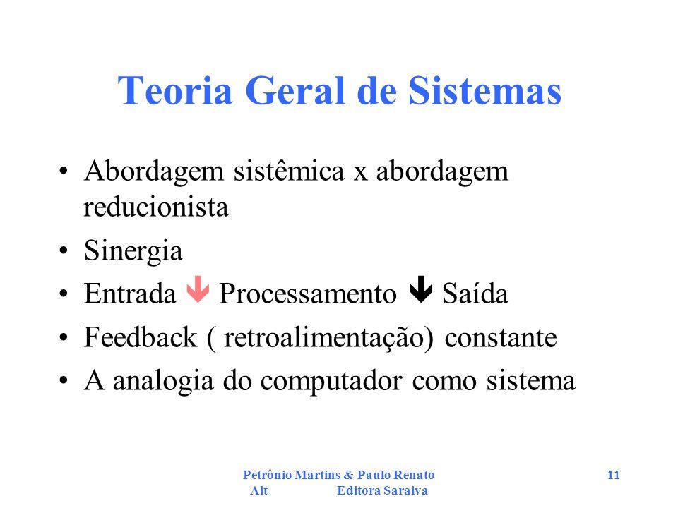 Petrônio Martins & Paulo Renato Alt Editora Saraiva 11 Teoria Geral de Sistemas Abordagem sistêmica x abordagem reducionista Sinergia Entrada Processamento Saída Feedback ( retroalimentação) constante A analogia do computador como sistema