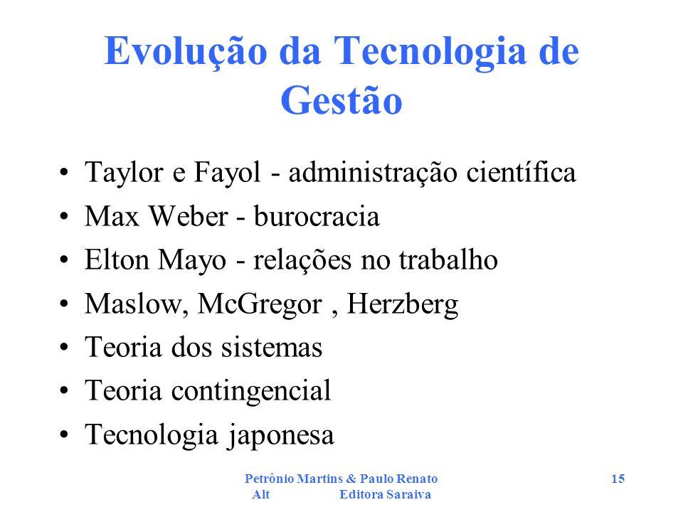 Petrônio Martins & Paulo Renato Alt Editora Saraiva 15 Evolução da Tecnologia de Gestão Taylor e Fayol - administração científica Max Weber - burocrac