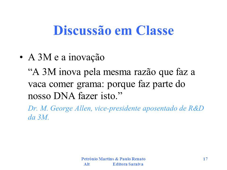 Petrônio Martins & Paulo Renato Alt Editora Saraiva 17 Discussão em Classe A 3M e a inovação A 3M inova pela mesma razão que faz a vaca comer grama: p