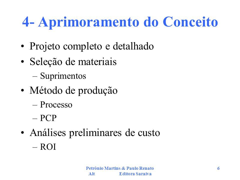 Petrônio Martins & Paulo Renato Alt Editora Saraiva 6 4- Aprimoramento do Conceito Projeto completo e detalhado Seleção de materiais –Suprimentos Méto