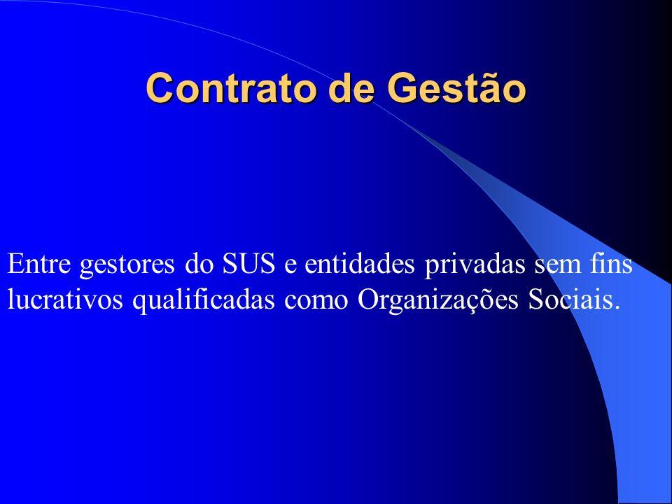 Convênio Entre os próprios gestores do SUS e entre estes e entidades filantrópicas e ou sem fins lucrativos. É utilizado nos casos de pagamento por pr