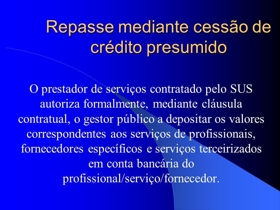 Em virtudes de algumas peculiaridades instituiu-se a modalidade de repasse mediante Cessão de Crédito Presumido Ajuste entre vontades, previsto no Código Civil, em que um crédito é cedido a terceiro.