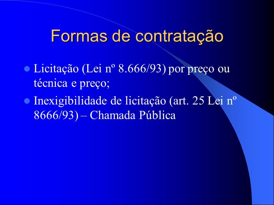 NECESSIDADE COMPLEMENTAR DE CONTRATAÇÃO NECESSIDADE COMPLEMENTAR DE CONTRATAÇÃO CONTRATOS CONVÊNIO PRIVADAS SEM FINS LUCRATIVOS (Prioridade na Contratação) PRIVADAS SEM FINS LUCRATIVOS (Prioridade na Contratação) PRIVADAS COM FINS LUCRATIVOS PRIVADAS COM FINS LUCRATIVOS CHAMAMENTO PÚBLICO (inexigibilidade) CHAMAMENTO PÚBLICO (inexigibilidade) LICITAÇÃO (LEI Nº 8666) LICITAÇÃO (LEI Nº 8666) CONTRATO DE GESTÃO (Organizações Sociais) CONTRATO DE GESTÃO (Organizações Sociais) NÃO SIM FLUXO DA CONTRATAÇÃO DE SERVIÇOS FIM DO PROCESSO