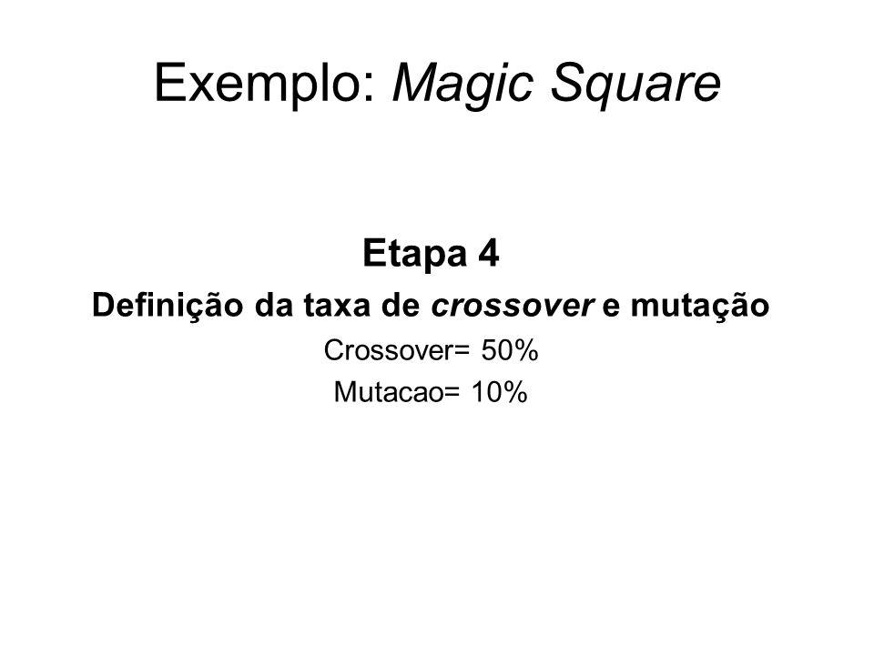 Exemplo: Magic Square Etapa 4 Definição da taxa de crossover e mutação Crossover= 50% Mutacao= 10%