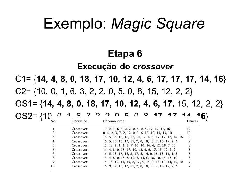 Exemplo: Magic Square Etapa 6 Execução do crossover C1= {14, 4, 8, 0, 18, 17, 10, 12, 4, 6, 17, 17, 17, 14, 16} C2= {10, 0, 1, 6, 3, 2, 2, 0, 5, 0, 8,