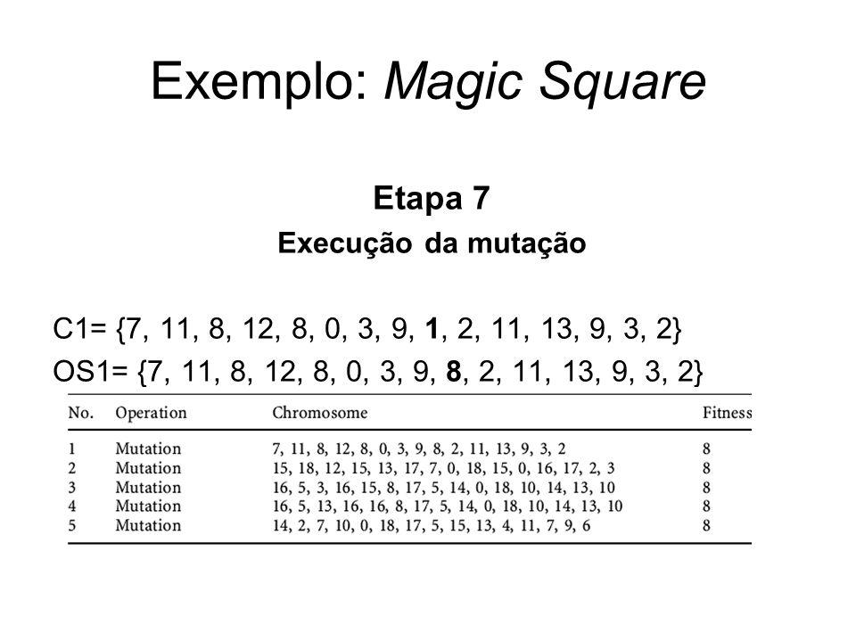 Exemplo: Magic Square Etapa 7 Execução da mutação C1= {7, 11, 8, 12, 8, 0, 3, 9, 1, 2, 11, 13, 9, 3, 2} OS1= {7, 11, 8, 12, 8, 0, 3, 9, 8, 2, 11, 13,