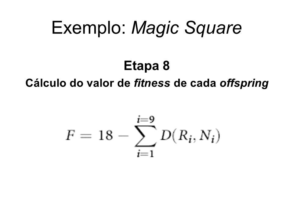 Exemplo: Magic Square Etapa 8 Cálculo do valor de fitness de cada offspring