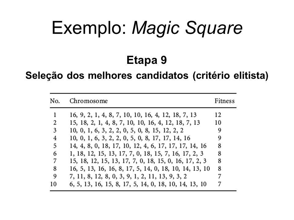 Exemplo: Magic Square Etapa 9 Seleção dos melhores candidatos (critério elitista)