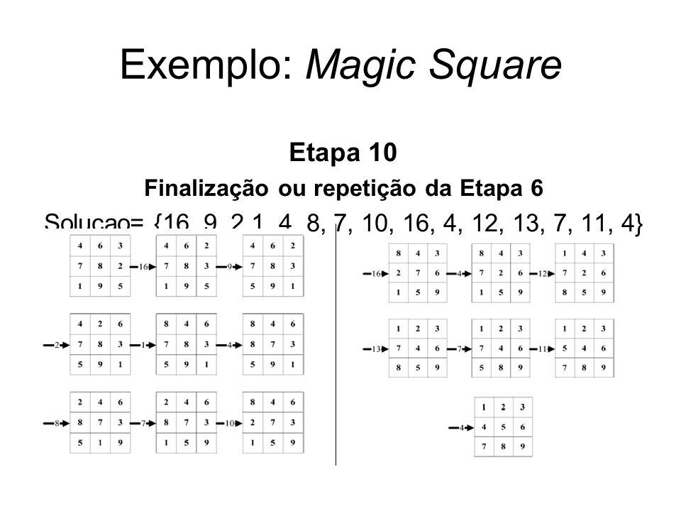 Exemplo: Magic Square Etapa 10 Finalização ou repetição da Etapa 6 Solucao= {16, 9, 2 1, 4, 8, 7, 10, 16, 4, 12, 13, 7, 11, 4}