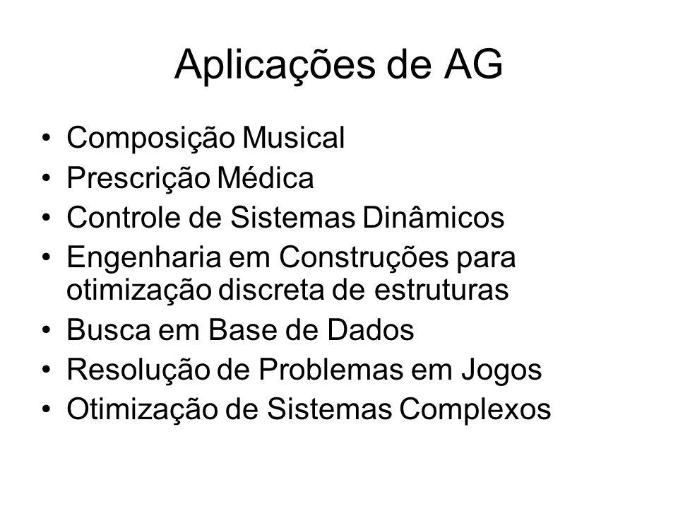 Aplicações de AG Composição Musical Prescrição Médica Controle de Sistemas Dinâmicos Engenharia em Construções para otimização discreta de estruturas