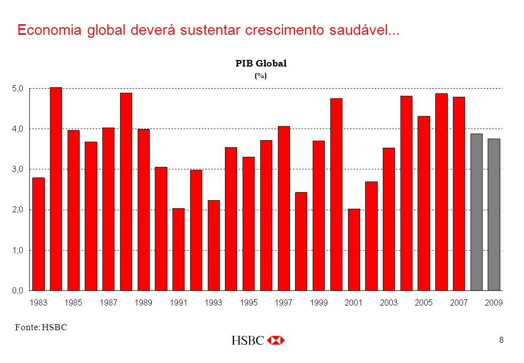 8 Economia global deverá sustentar crescimento saudável... Fonte: HSBC PIB Global (%)