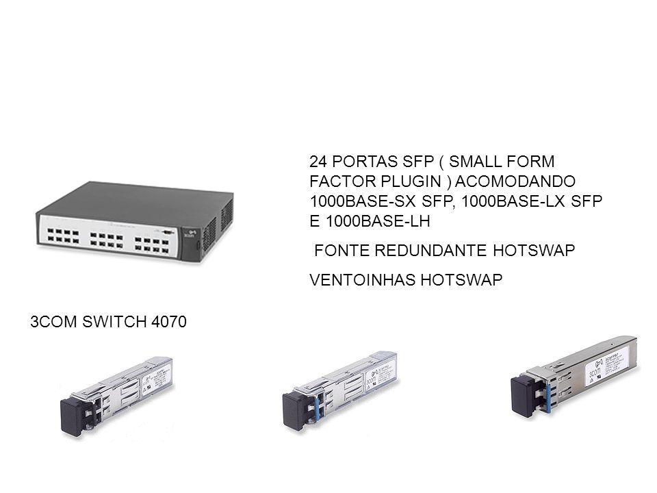 3COM SWITCH 4070 24 PORTAS SFP ( SMALL FORM FACTOR PLUGIN ) ACOMODANDO 1000BASE-SX SFP, 1000BASE-LX SFP E 1000BASE-LH FONTE REDUNDANTE HOTSWAP VENTOIN