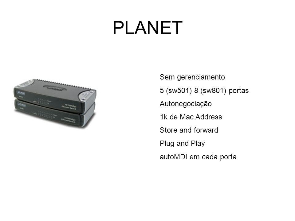 PLANET Sem gerenciamento 5 (sw501) 8 (sw801) portas Autonegociação 1k de Mac Address Store and forward Plug and Play autoMDI em cada porta