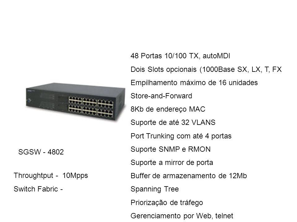 SGSW - 4802 48 Portas 10/100 TX, autoMDI Dois Slots opcionais (1000Base SX, LX, T, FX Empilhamento máximo de 16 unidades Store-and-Forward 8Kb de ende