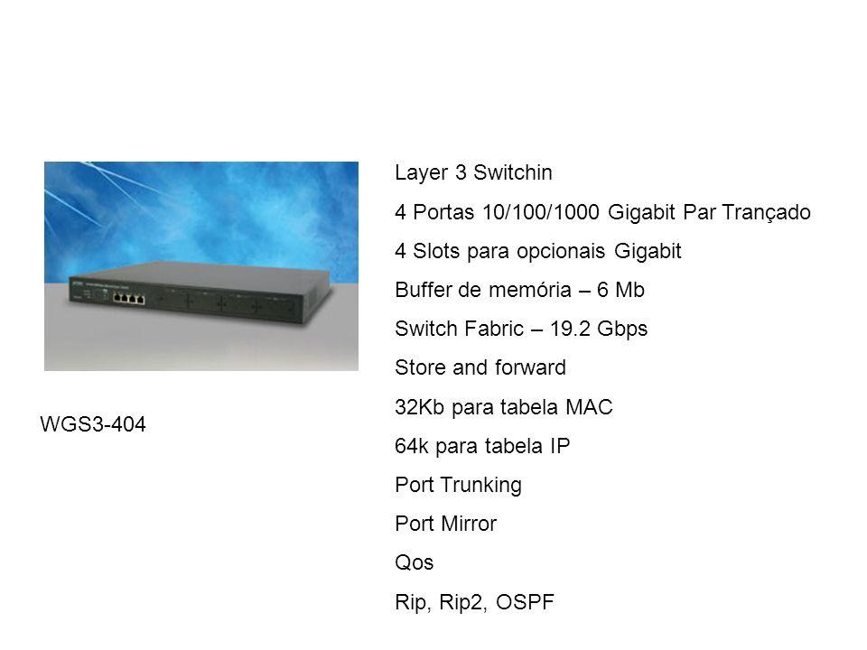 WGS3-404 Layer 3 Switchin 4 Portas 10/100/1000 Gigabit Par Trançado 4 Slots para opcionais Gigabit Buffer de memória – 6 Mb Switch Fabric – 19.2 Gbps