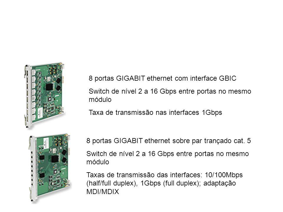 8 portas GIGABIT ethernet com interface GBIC Switch de nível 2 a 16 Gbps entre portas no mesmo módulo Taxa de transmissão nas interfaces 1Gbps 8 porta
