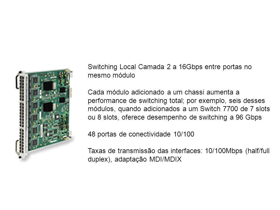 Switching Local Camada 2 a 16Gbps entre portas no mesmo módulo Cada módulo adicionado a um chassi aumenta a performance de switching total; por exempl