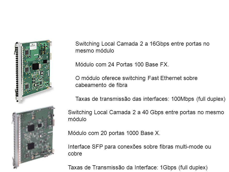 Switching Local Camada 2 a 16Gbps entre portas no mesmo módulo Módulo com 24 Portas 100 Base FX. O módulo oferece switching Fast Ethernet sobre cabeam