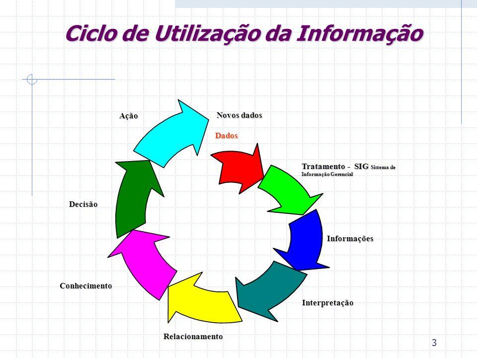3 Novos dados Dados Dados Informações Interpretação Conhecimento Decisão Ação Relacionamento Tratamento - SIG Sistema de Informação Gerencial Ciclo de Utilização da Informação