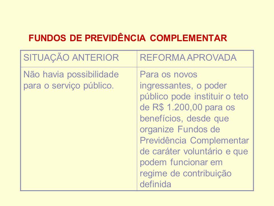 FUNDOS DE PREVIDÊNCIA COMPLEMENTAR SITUAÇÃO ANTERIORREFORMA APROVADA Não havia possibilidade para o serviço público.
