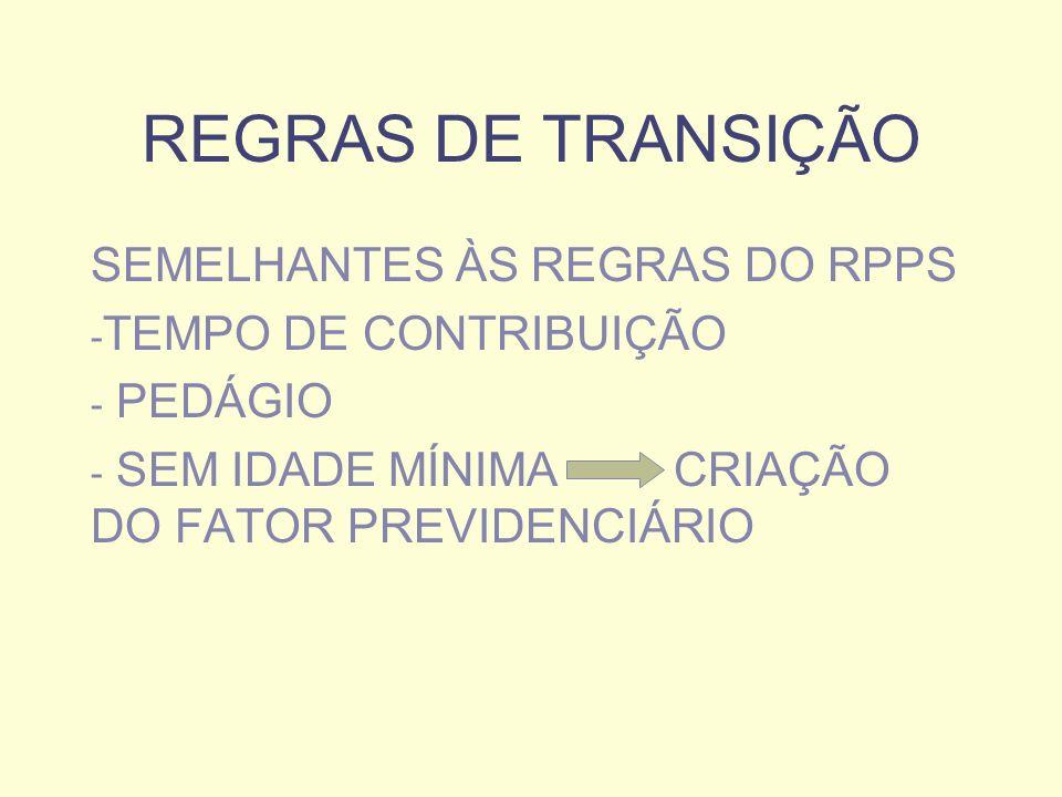 REGRAS DE TRANSIÇÃO SEMELHANTES ÀS REGRAS DO RPPS - TEMPO DE CONTRIBUIÇÃO - PEDÁGIO - SEM IDADE MÍNIMA CRIAÇÃO DO FATOR PREVIDENCIÁRIO