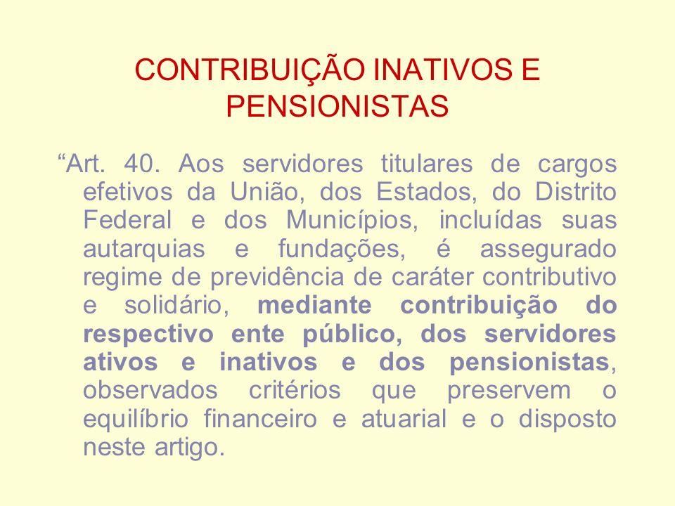 CONTRIBUIÇÃO INATIVOS E PENSIONISTAS Art. 40.