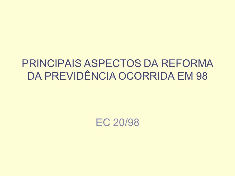 PRINCIPAIS ASPECTOS DA REFORMA DA PREVIDÊNCIA OCORRIDA EM 98 EC 20/98