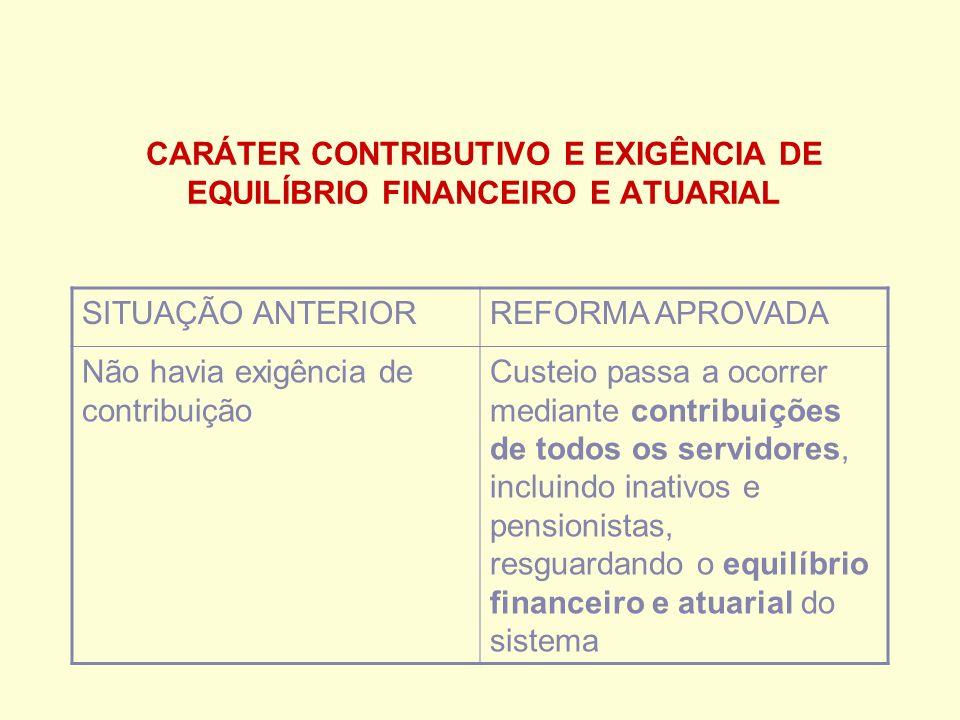 CARÁTER CONTRIBUTIVO E EXIGÊNCIA DE EQUILÍBRIO FINANCEIRO E ATUARIAL SITUAÇÃO ANTERIORREFORMA APROVADA Não havia exigência de contribuição Custeio passa a ocorrer mediante contribuições de todos os servidores, incluindo inativos e pensionistas, resguardando o equilíbrio financeiro e atuarial do sistema