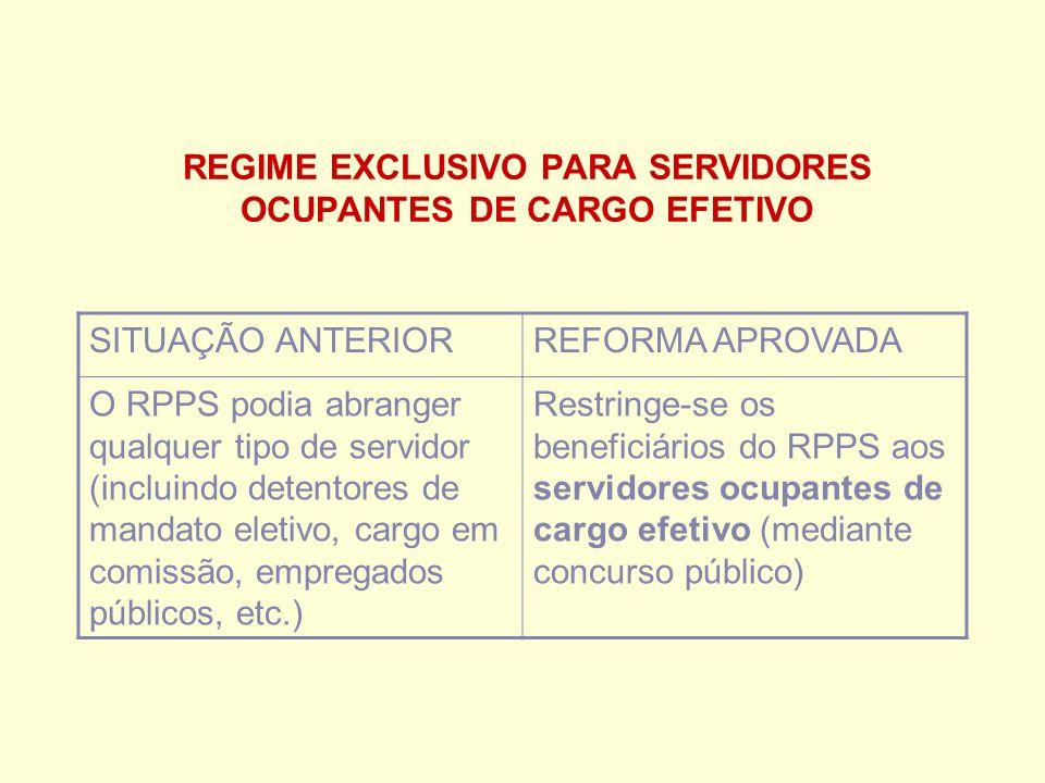 REGIME EXCLUSIVO PARA SERVIDORES OCUPANTES DE CARGO EFETIVO SITUAÇÃO ANTERIORREFORMA APROVADA O RPPS podia abranger qualquer tipo de servidor (incluindo detentores de mandato eletivo, cargo em comissão, empregados públicos, etc.) Restringe-se os beneficiários do RPPS aos servidores ocupantes de cargo efetivo (mediante concurso público)