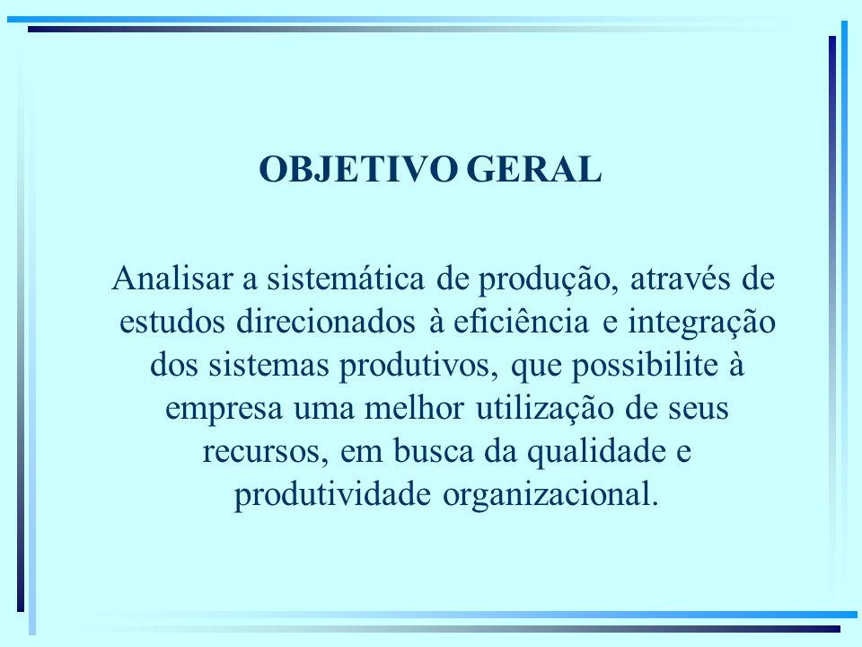 OBJETIVO GERAL Analisar a sistemática de produção, através de estudos direcionados à eficiência e integração dos sistemas produtivos, que possibilite à empresa uma melhor utilização de seus recursos, em busca da qualidade e produtividade organizacional.