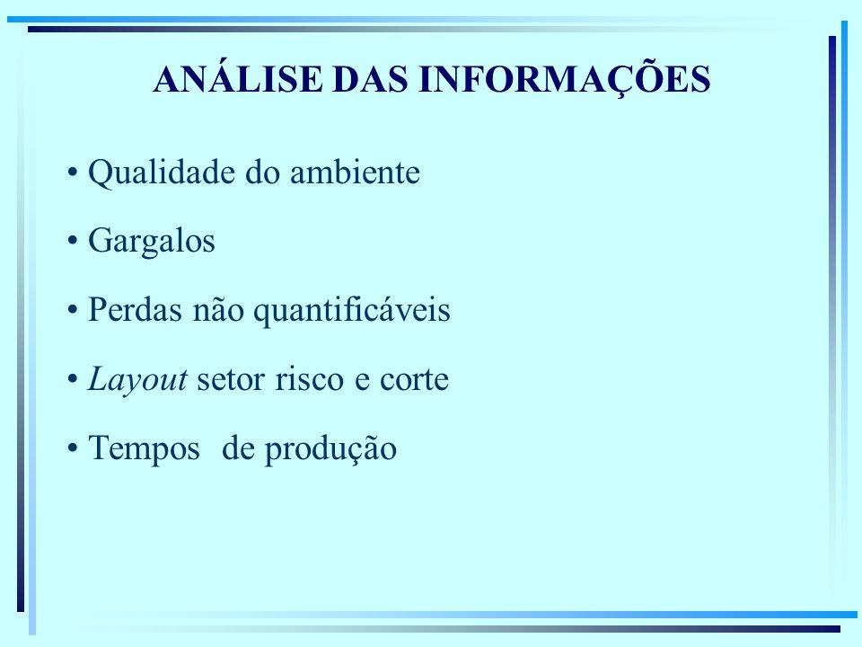 ANÁLISE DAS INFORMAÇÕES Qualidade do ambiente Gargalos Perdas não quantificáveis Layout setor risco e corte Tempos de produção