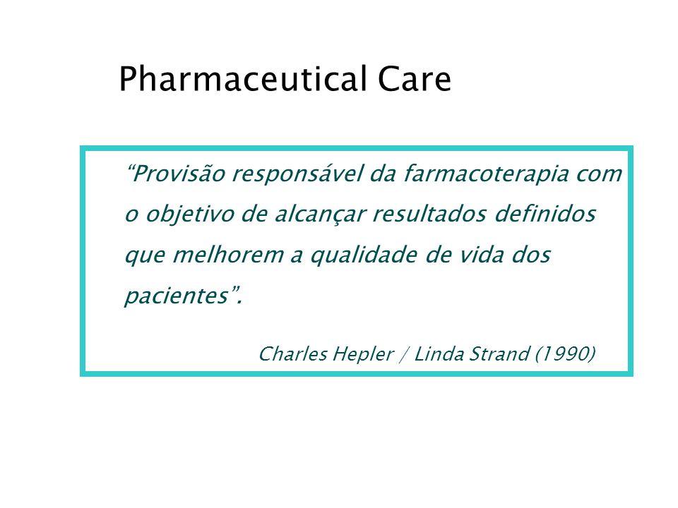 Provisão responsável da farmacoterapia com o objetivo de alcançar resultados definidos que melhorem a qualidade de vida dos pacientes. Charles Hepler
