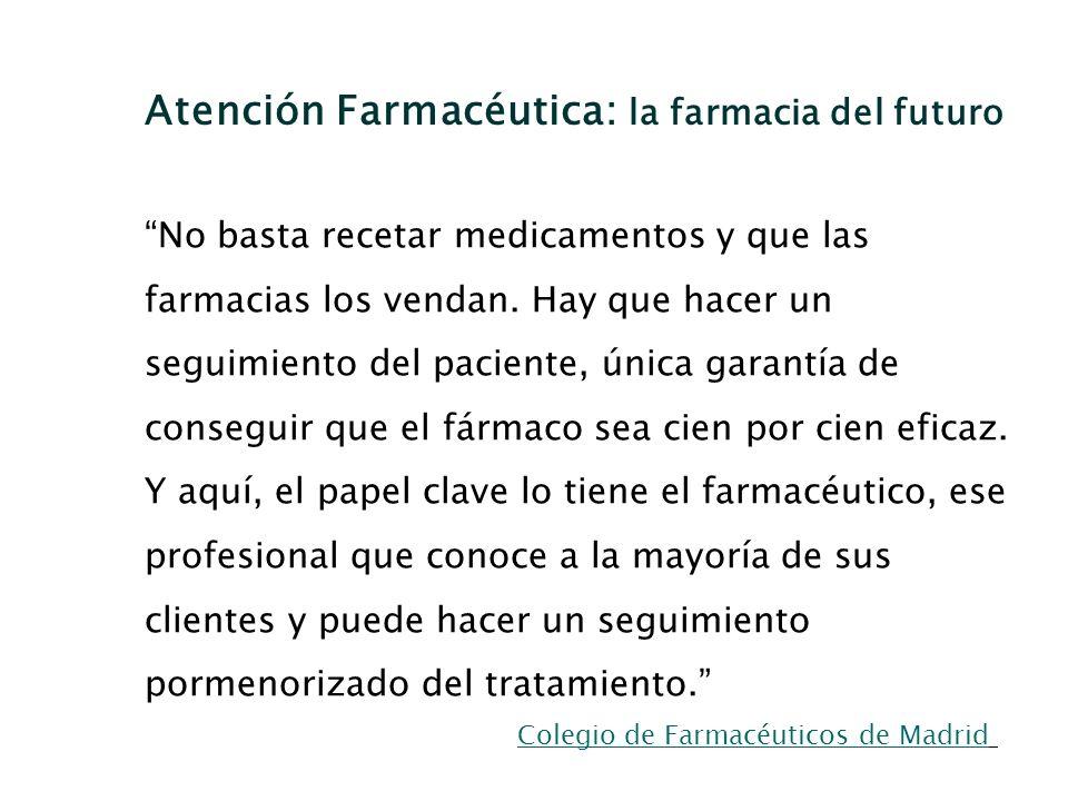 No basta recetar medicamentos y que las farmacias los vendan. Hay que hacer un seguimiento del paciente, única garantía de conseguir que el fármaco se