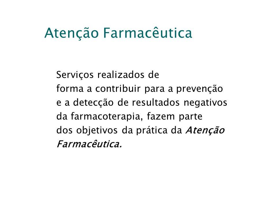 Atenção Farmacêutica Serviços realizados de forma a contribuir para a prevenção e a detecção de resultados negativos da farmacoterapia, fazem parte do