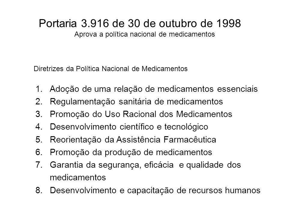 Portaria 3.916 de 30 de outubro de 1998 Aprova a política nacional de medicamentos Diretrizes da Política Nacional de Medicamentos 1.Adoção de uma rel