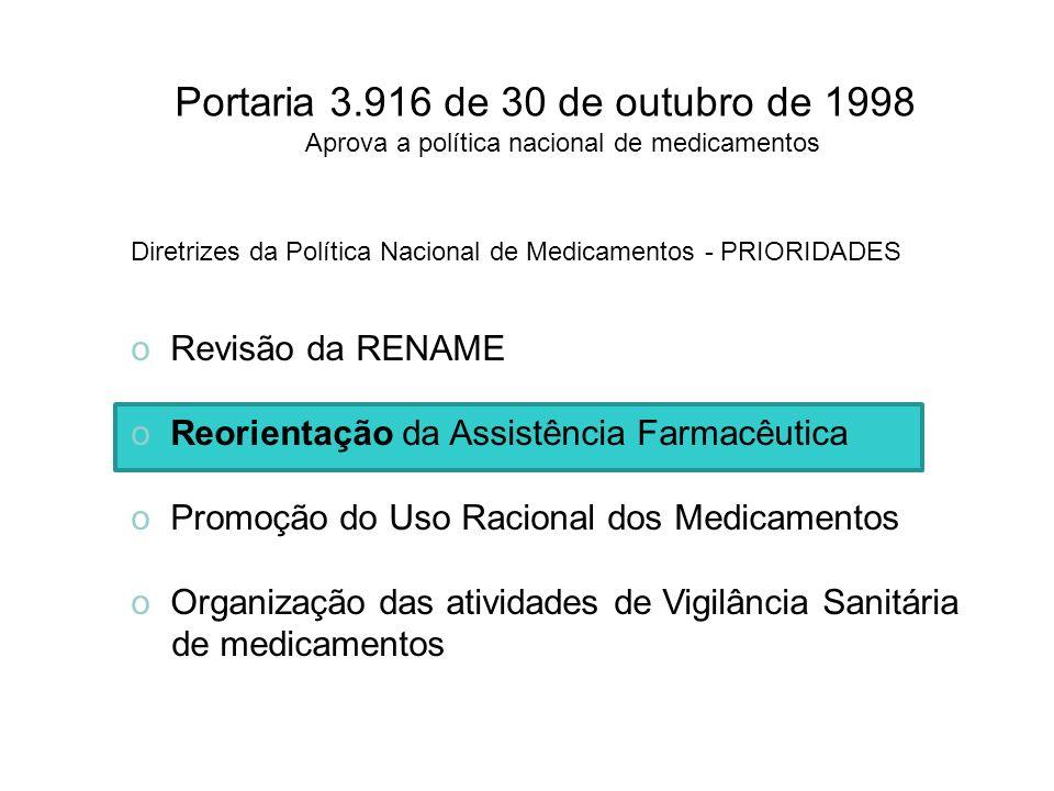 Portaria 3.916 de 30 de outubro de 1998 Aprova a política nacional de medicamentos Diretrizes da Política Nacional de Medicamentos - PRIORIDADES o Rev