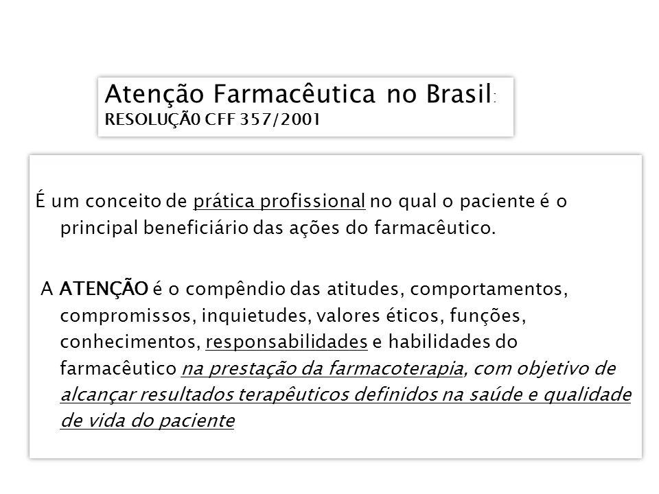 Atenção Farmacêutica no Brasil : RESOLUÇÃ0 CFF 357/2001 Atenção Farmacêutica no Brasil : RESOLUÇÃ0 CFF 357/2001 É um conceito de prática profissional