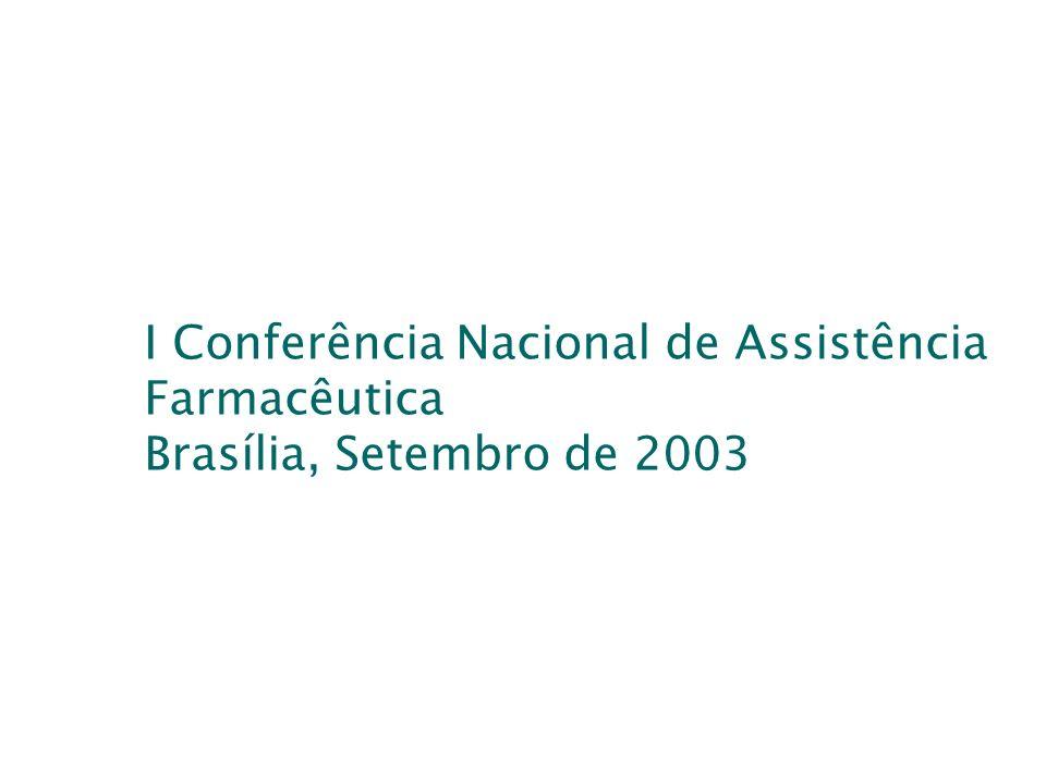 I Conferência Nacional de Assistência Farmacêutica Brasília, Setembro de 2003