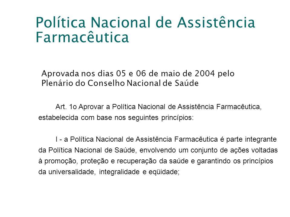 Política Nacional de Assistência Farmacêutica Art. 1o Aprovar a Política Nacional de Assistência Farmacêutica, estabelecida com base nos seguintes pri