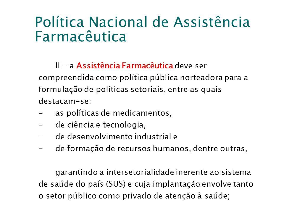 Política Nacional de Assistência Farmacêutica II - a Assistência Farmacêutica deve ser compreendida como política pública norteadora para a formulação