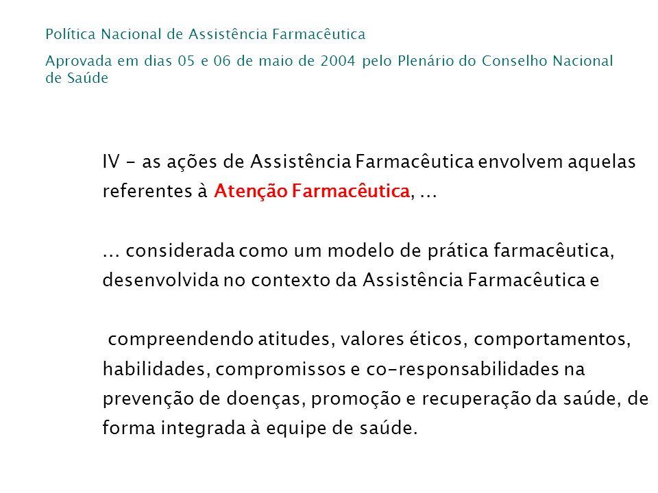 Política Nacional de Assistência Farmacêutica Aprovada em dias 05 e 06 de maio de 2004 pelo Plenário do Conselho Nacional de Saúde IV - as ações de As