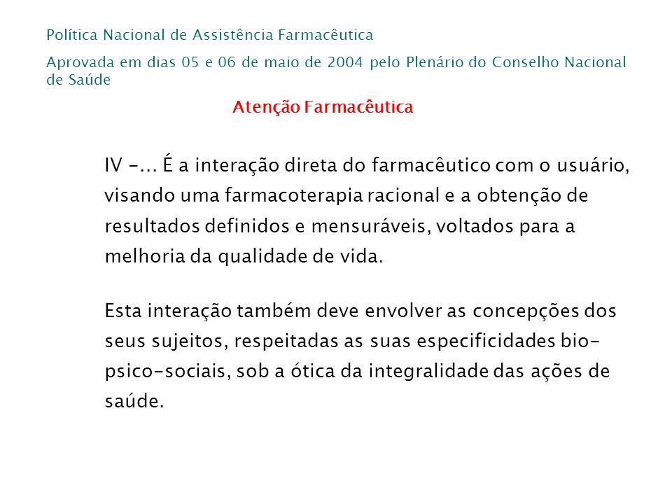 Política Nacional de Assistência Farmacêutica Aprovada em dias 05 e 06 de maio de 2004 pelo Plenário do Conselho Nacional de Saúde IV -... É a interaç