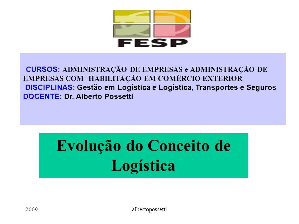 2009albertopossetti Evolução do Conceito de Logística CURSOS: ADMINISTRAÇÃO DE EMPRESAS e ADMINISTRAÇÃO DE EMPRESAS COM HABILITAÇÃO EM COMÉRCIO EXTERIOR DISCIPLINAS: Gestão em Logística e Logística, Transportes e Seguros DOCENTE: Dr.