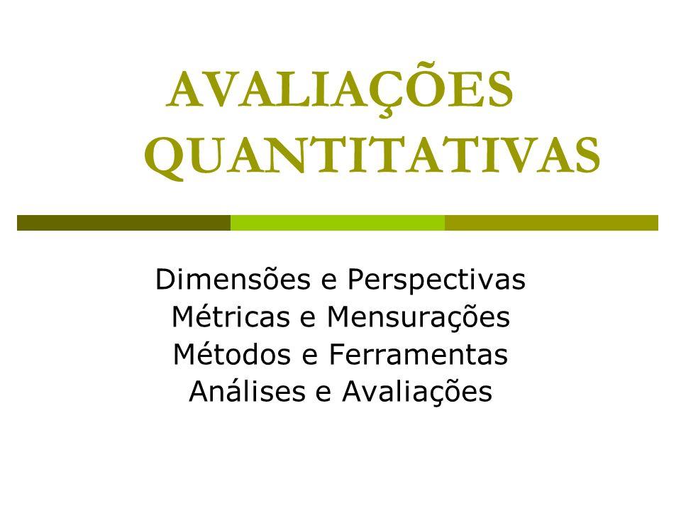 AVALIAÇÕES QUANTITATIVAS Dimensões e Perspectivas Métricas e Mensurações Métodos e Ferramentas Análises e Avaliações
