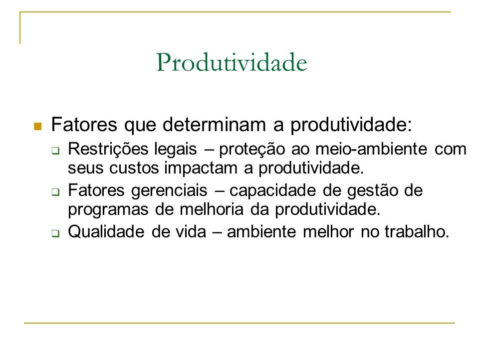 Produtividade Fatores que determinam a produtividade: Restrições legais – proteção ao meio-ambiente com seus custos impactam a produtividade. Fatores