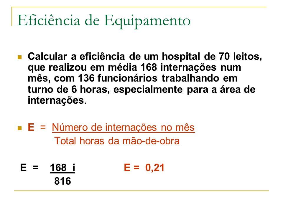 Eficiência de Equipamento Calcular a eficiência de um hospital de 70 leitos, que realizou em média 168 internações num mês, com 136 funcionários traba
