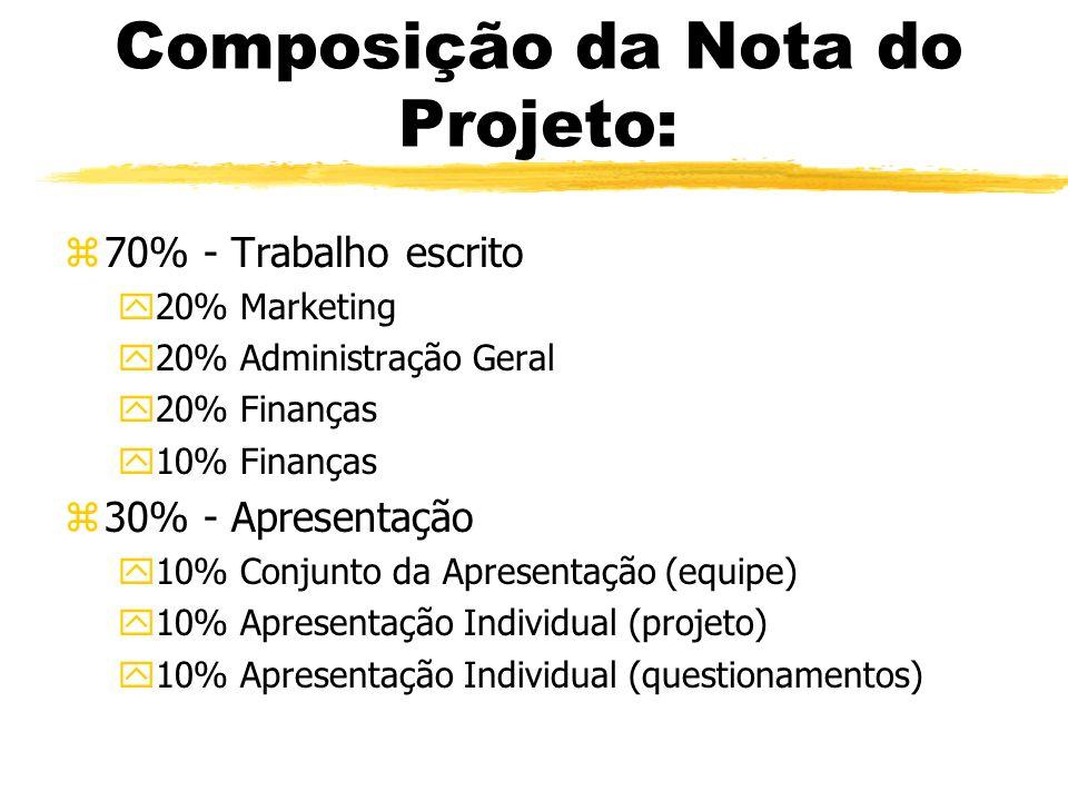 Composição da Nota do Projeto: z70% - Trabalho escrito y20% Marketing y20% Administração Geral y20% Finanças y10% Finanças z30% - Apresentação y10% Co