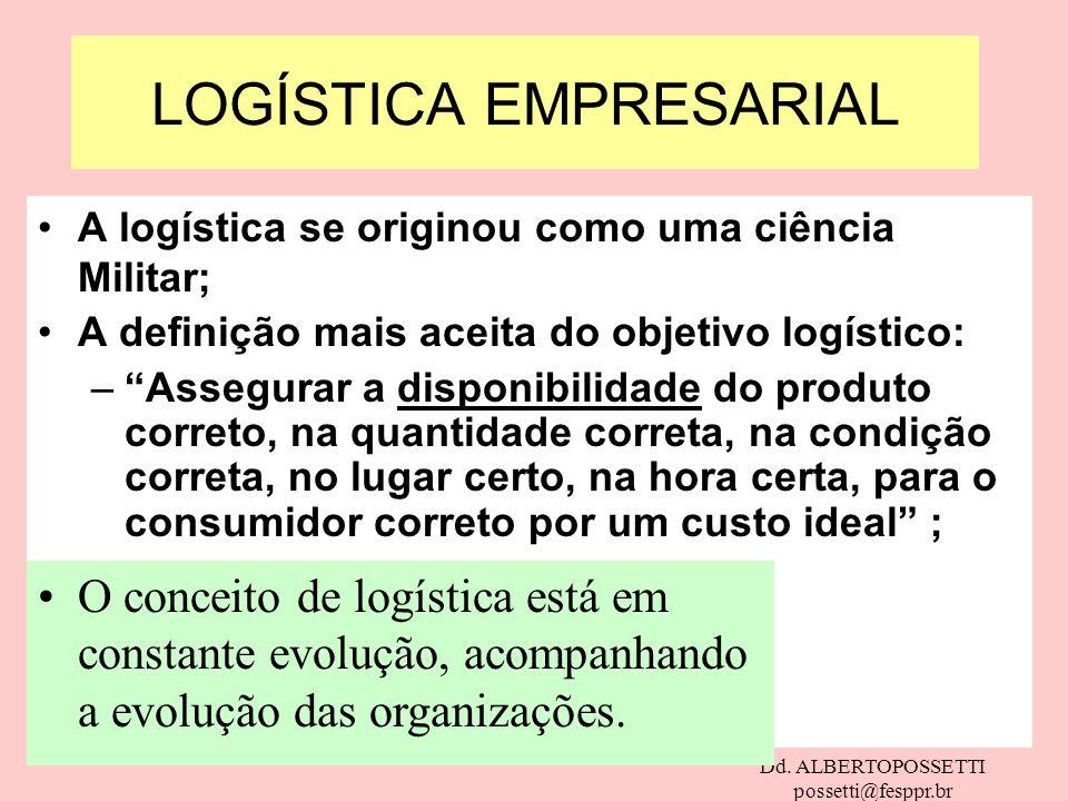 Dd. ALBERTOPOSSETTI possetti@fesppr.br A logística se originou como uma ciência Militar; A definição mais aceita do objetivo logístico: –Assegurar a d