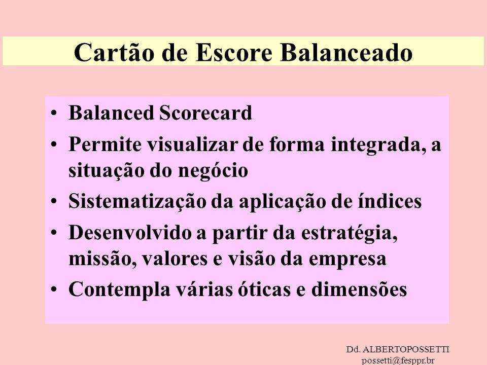 Dd. ALBERTOPOSSETTI possetti@fesppr.br Cartão de Escore Balanceado Balanced Scorecard Permite visualizar de forma integrada, a situação do negócio Sis